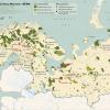 BPAN map with mining conflict cases  Карта с некоторыми примерами конфликтных случаев между охраной природы и развитием добычи полезных ископаемых в Баренцевом регионе