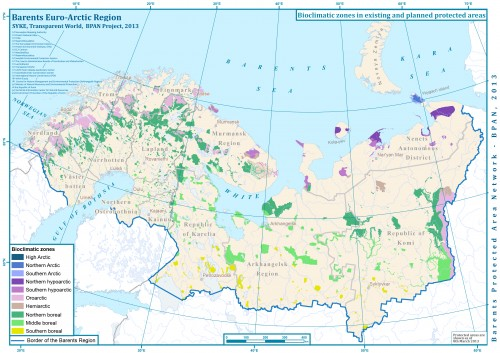 Биоклиматические зоны в пределах существующих и планируемых охраняемых природных территорий