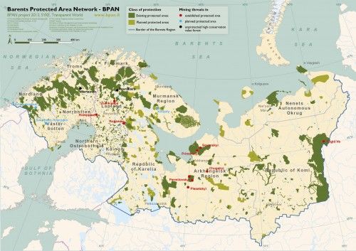 Some example cases of conflicts between protected areas and mining in the Barents Region. The map is produced in the BPAN project.