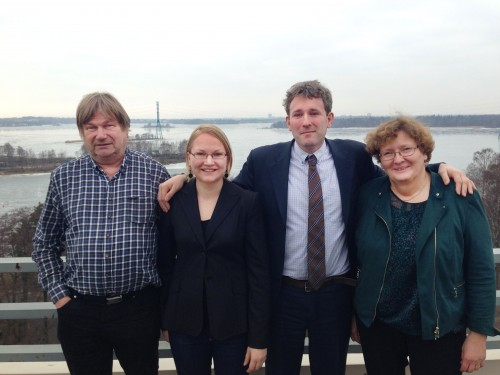 Leading Expert Tapio Lindholm, BPAN Project Manager Anna Kuhmonen, CAFF Executive Secretary Tom Barry and Environment Counsellor Aulikki Alanen on the SYKE´s roof terrace discussing the arctic biodiversity future.   Photo: Riku Lumiaro