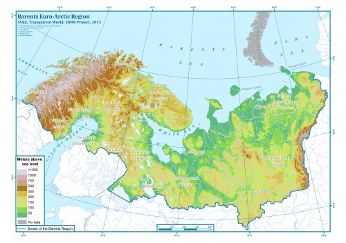 Возвышенности  и низменности на территориии Баренц-региона